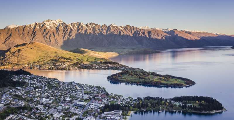 Queenstown aerial view sunset